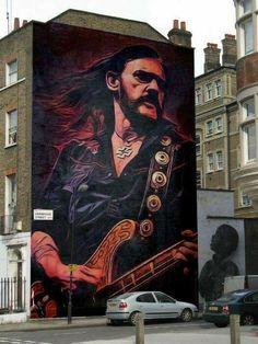 All Hail Metal: Amazing Lemmy Kilmister Gravity Art Street Art Banksy, Murals Street Art, 3d Street Art, Amazing Street Art, Art Mural, Street Artists, Wall Art, Heavy Metal, Black Metal