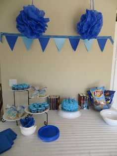 Every Day A Blessing: Percy Jackson Party!!!!!!       Like the blue pom-poms