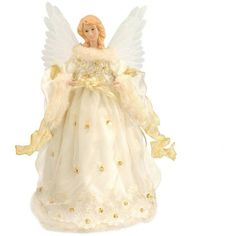 Animated Angel In Ivory And Gold Fiber Optic Tree Topper ($72) ❤ liked on Polyvore featuring home, home decor, holiday decorations, fiber optic christmas lights, gold home decor, gold angel tree topper, gold christmas lights and gold tree topper