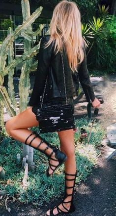 all black + gladiators #topshop