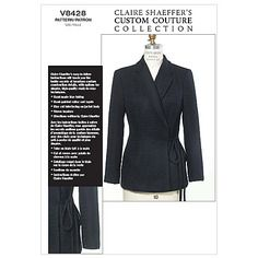 V8428 d(12-14-16) - patron vogue claire shaeffer's custom couture collection - veste semi ajustée