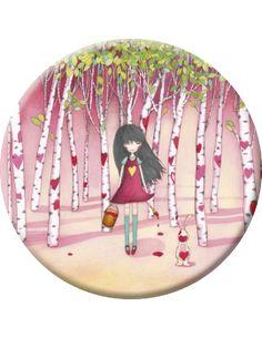 """Mila badge (56 mm) """"Les coeurs dans la forêt"""""""