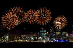 Beautiful Auckland & even more beautiful with fireworks - Fireworks light up the night sky over Auckland city to celebrate Valerie Adams gold medal ceremony at The Cloud. Photo / Natalie Slade
