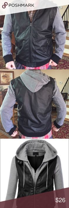 Men's Boomer Faux Leather Jacket Brand New never worn men's Jacket Is stylish with Grey Hoodie & Sleeves. Size XL Black Jackets & Coats Bomber & Varsity