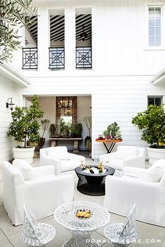 Kourtney Kardashian's white patio furniture