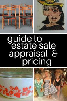Your go-to guide to estate sale appraisal and pricing resources. Find out what your finds are worth, including antiques, coins, collectibles, and more. Garage Sale Pricing, Garage Sale Tips, Antique Appraisal, Flea Market Decorating, Up House, Sell House, For Sale Sign, Sale Signs, Selling Antiques