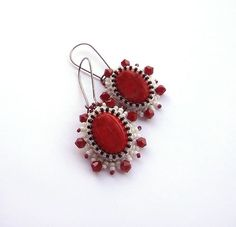 #beadwork  Red  embroidered ,vintage style, earrings with Jadeite cabochon and czech  glass ,beaded jewelry ,graduation