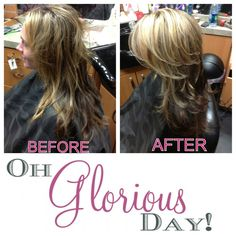 ~~~GLORI'S GLORIOUS HAIR~~~  We kicked Glori's hair up a notch by adding 3 dimensional highlights! (light blonde ash, medium brown ash and dark natural brown). We then gave her a long layered hair cut with shorter layers placed at her crown for extra volume!
