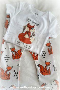 Let them be Wild Fox Baby Onesie©,  Boho Baby, Boho Shirt, Tribal Baby, Floral Shirt, Arrow Shirt, Boys Onesie, Fox Pants, Girls Boho - Ruffles & Bowties Bowtique - 1