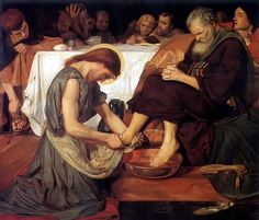 FORD MADDOX BROWN Jesus Washing Peter's Feet - (16 April 1821 – 6 October 1893) was an English painter of moral and historical subjects, notable for his distinctively graphic and often Hogarthian version of the Pre-Raphaelite style. Arguably, his most notable painting was Work (1852–1865). Brown spent the latter years of his life painting the Manchester Murals, depicting Mancunian history, for Manchester Town Hall.