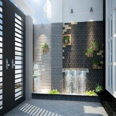 House Front Design, Door Design, Wall Design, Indoor Water Features, Small Balcony Design, Vertical Garden Wall, Inside Garden, Fountain Design, Hotel Room Design