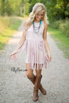 Feel This Moment Fringe Dress in Blush - Dresses
