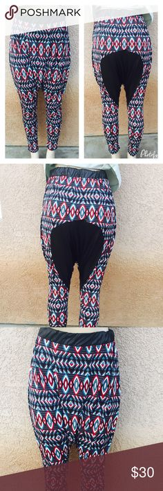 🆕 Leather patch harem pants So in trend harem pants with faux leather patch and at the waist . Material is 95% polyester 5% spandex . Pants Track Pants & Joggers