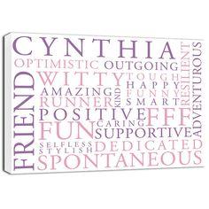 Word Art for best friend, bridesmaid, milestone birthday Text Wall Art