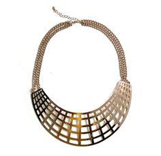 Gold crescent statement necklace golden bib by TheFashionBandits