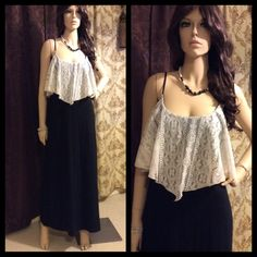 Gorgeous Lace Bib Long Black Maxi Dress Beautiful! Gently used. Soft and stretchy. Dresses Maxi