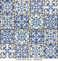 Gorgeous seamless patchwork pattern from dark blue and white Moroccan tiles…