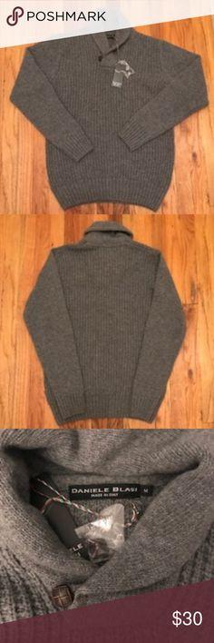 Men's  Daniele Blasi Grey Shawl Neck Sweater Men's Daniele Blasi Grey Shawl Neck Sweater  70% Wool 25% Nylon 5% Other Fibers  Brand new with tags. Daniele Blasi Sweaters