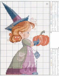 Little Halloween Witch cross stitch I would modify it to take away the hat