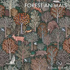 French Terry Knit Fabric - Forest Animals - Rebecca Reck design printed on organic cotton knit. Ideal for sewing clothing and accessories