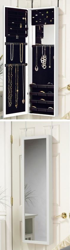 Over-the-door jewelry organizer with mirror // saves so much space, brilliant idea! #product_design #organization