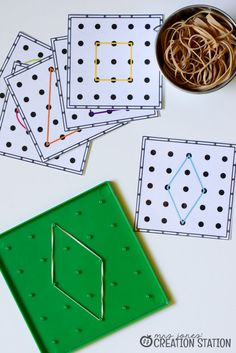 Shape Printables Teaching shapes through various *FREE* activities such as geoboards and shape hunts!Teaching shapes through various *FREE* activities such as geoboards and shape hunts! Kindergarten Centers, Math Classroom, Preschool Activities, 2d Shapes Kindergarten, 3d Shapes Activities, Preschool Shapes, Montessori Preschool, Montessori Elementary, Math Math