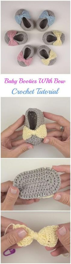 Crochet Baby Booties with Bow by arline