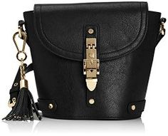 Black leather cross-body bucket bag with beautiful gold buckle Leather Crossbody, Cross Body, Bucket Bag, Black Leather, Style Inspiration, Christmas, Gold, Bags, Beautiful