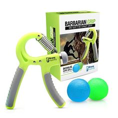 Hand Grip Strengthener  Free Two Therapy Squeeze Balls  Exercise Guide  Best for Finger Forearm Massage  Rock Climbing  100 Life Time Guarantee * Visit the image link more details.