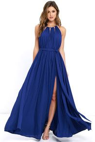 Your presence will be known the second you walk by in the Gleam and Glide Royal Blue Maxi Dress! Lovely woven poly swings from a drawstring halter neckline (with gold accents), into a cutout bodice with plunging V-neck. Elasticized waist with tying sash belt tops the maxi skirt with side slit. Low V-back. #CuteDresses #TrendyTops, #FashionShoes #JuniorsClothing
