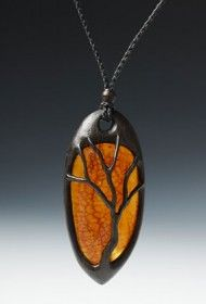 Tree necklace in bog oak and amber by Geoff King