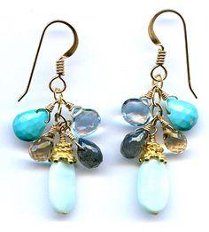 Peruvian Opal And Multi Gem Gold Earrings $50