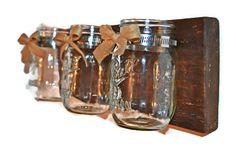 Mason Jar Organizer, Rustic Candleholder, Mason Jar Herb Garden, Wood Vase, Mason Jar Decor, Craft Room Storage, Rustic Decor,Candle holder by EllaMurphyDesigns on Etsy https://www.etsy.com/listing/229700308/mason-jar-organizer-rustic-candleholder