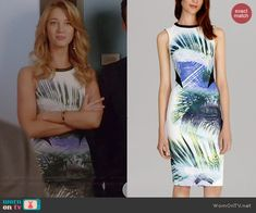 Petra's palm leaf print dress on Jane the Virgin.  Outfit Details: http://wornontv.net/41038/ #JanetheVirgin