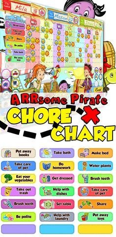 SUPER CUTE Pirate themed Chore Chart for kids!!! Responsibility made FUN with Easy to Use magnetic Stars & Rewards!