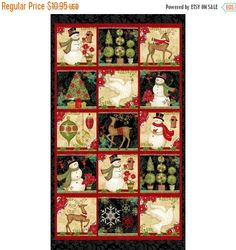 "BLACK FRIDAY SALE Winter Bliss Panel 24"" x 44""~Christmas Cotton Fabric by~Studio E~Fast Shipping Hc303"