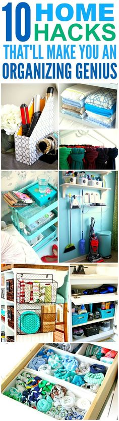 These 10 home hacks that'll made you an organization genius are THE BEST! I'm so glad I found these AMAZING tips! Now I can have a cute and organized house!