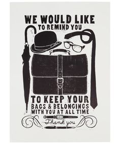 Bags Unframed Lino Print, vintage style, bowler, type, poster, illustration, graphic design