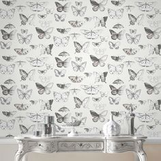 Butterflies Taupe and Cream Wallpaper