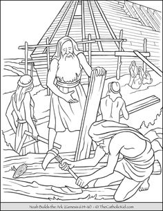 Noah& Ark Coloring Page New Noah Building the Ark Coloring Page thecatholickid