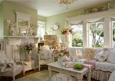 Beautiful shabby chic in pink and green .