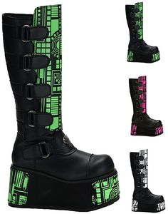 Demonia Cyber Rave Techno 850UV Boots