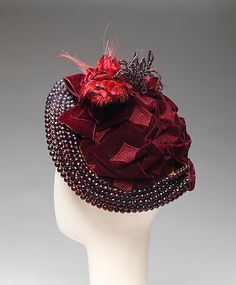 """1883 ... Bonnet ... silk, beads, feathers, & wire ... Length (around face): 22"""" ... French ... at The Metropolitan Museum of Art ... photo 2"""