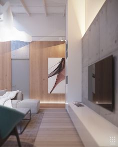 This gorgeous 203 square meter home in Belarus uses its bright white interior as an effective canvas for a dramatic meeting between organic shapes and clean lin