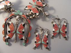 Navajo Butterfly Inlay Squash Blossom Sterling Necklace and Earrings