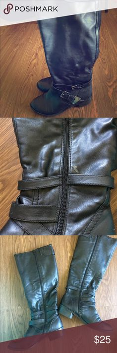Very cute leather riding boots Gently used, offers accepted. Small blemish inside of right boot a.n.a Shoes Winter & Rain Boots