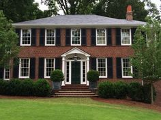 Red brick house white shutters red brick house shutter colors for Shutters Brick House, Window Shutters Exterior, White Shutters, Colonial House Exteriors, Colonial Exterior, Exterior House Colors, Exterior Homes, Red Brick Exteriors, House Shutter Colors