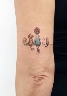 50 Beautiful Small and Colorful Tattoos - kleine Tattoos - Chien Cat And Dog Tattoo, Dog Tattoos, Mini Tattoos, Animal Tattoos, Body Art Tattoos, Small Tattoos, Sleeve Tattoos, Animal Lover Tattoo, Beagle Tattoo
