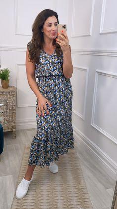 Blue floral dress, blue maxi dress, blue summer dress, maxi dress, floral dress