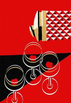 Vintage fifties graphic image of a cocktail set